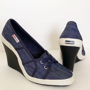 Superga Women's Wedge Fashion Sneaker EU 39 US 8
